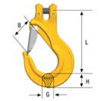 grade 100 clevis sling hook with latch drw